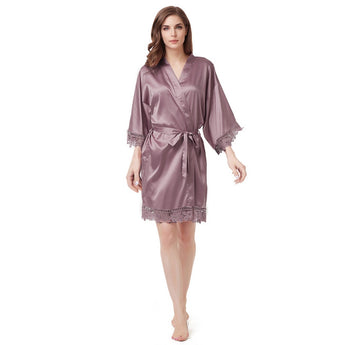 Luxury Satin Lace Robe in Taupe