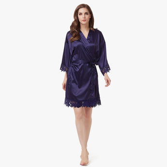 Luxury Satin Lace Robe in Navy Blue