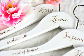 white wedding hanger