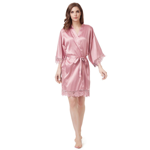 Luxury Satin Lace Robe in Blush