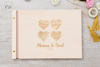 Wedding Guest Book, Four Hearts