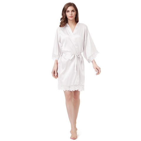 Luxury Satin Lace Robe in White