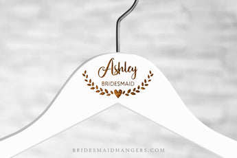 White Hanger, Name with Heart Ornament