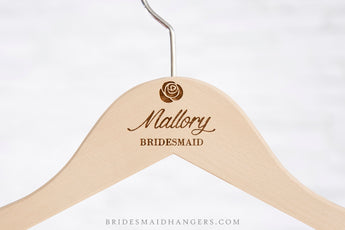 Natural Hanger, Name & Date with Rose