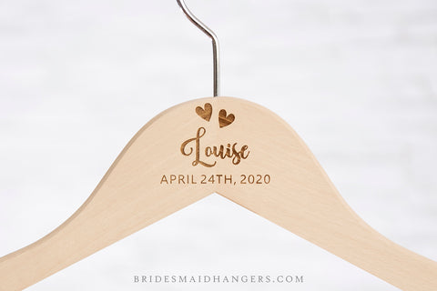 Natural Hanger, Name & Title with Two Hearts