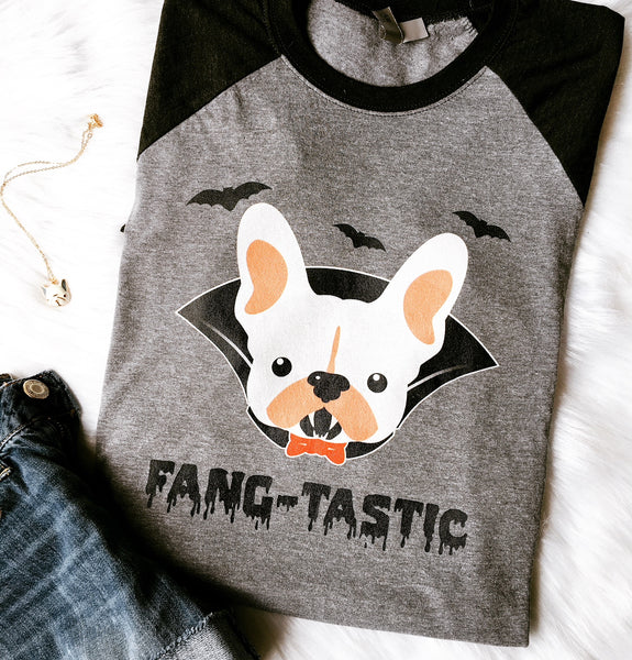 Frenchie Dracula Raglan Tee - Allthingsfrenchie LLC