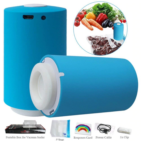 Mini Vacuum Sealer with 5 Reusable Bags