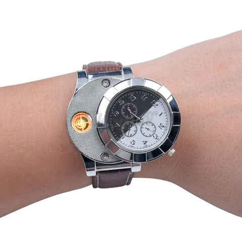 Wrist Watch With Built-in Cigarette Lighter (Rechargeable)