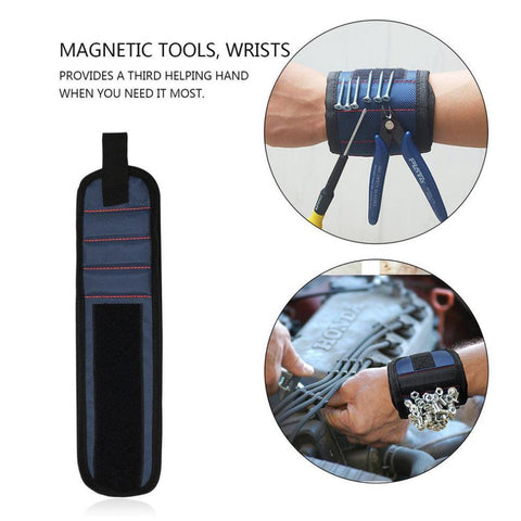 Magnetic Wrist Band for Holding Screws, Nails & Tools