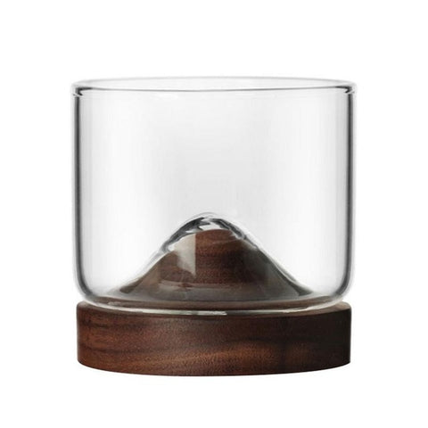 Japanese Style Whiskey Glass with Wooden Base