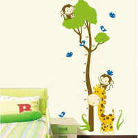 Tree and monkey and giraffe growth chart walls ticker