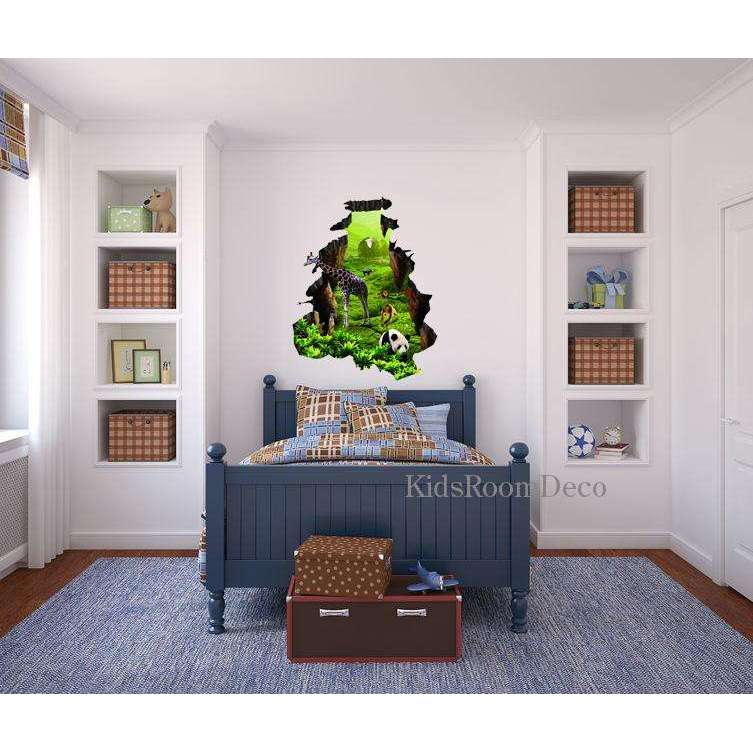3D Hole In Jungle Wall Wall Sticker   Kids Room Deco