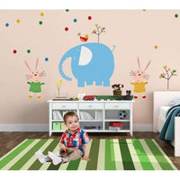 Pastel elephant with rabits wall sticker