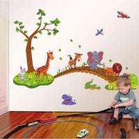 Animals on the bridge wall sticker - Kids Room Deco