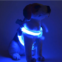 LED Flashing Light Dog Harness - Collar Lead Leash for Small Medium Dogs