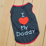 I Love My Daddy/Mommy Print Vest Sleeveless Dog T-Shirts