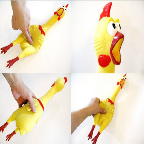 17CM Small Yellow Screaming Rubber Chicken Funny Pet Dog Toy Squeak Squeaker Chew Toy