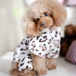 Warm Dog Clothes Leopard Print Coat for Winter