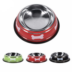 Durable Stainless Steel Dog Food Bowl with Non-Skid Rubber Base
