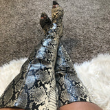 Nude Snake Skin Thigh High Boots