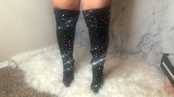 Black multi color sequin Thigh highs