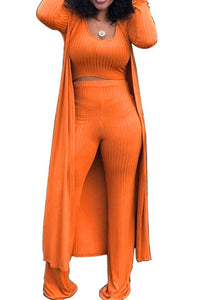 Orange ribbed 3pc set