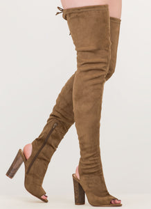 Open Toe Brown Thigh High Boots