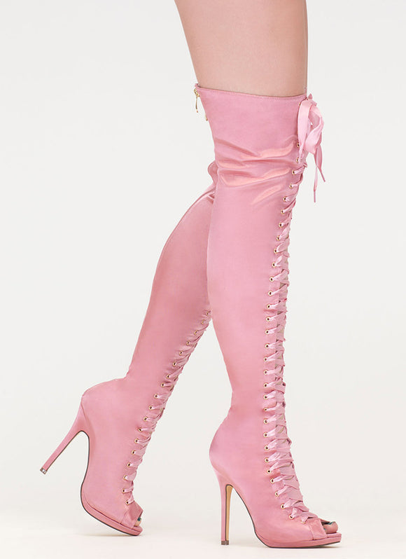 Pink Lace Up Thigh High Boots
