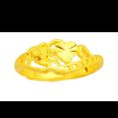 Pure brass plating 24K gold lady floral ring