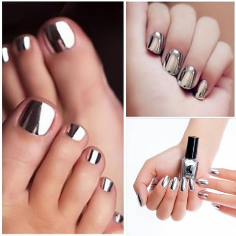 Sundaypop™  6 ml Fashion Sexy New Metallics Nail Polish Mirror Nail Polish For Women Girl As Makeup Tool Steel Grey