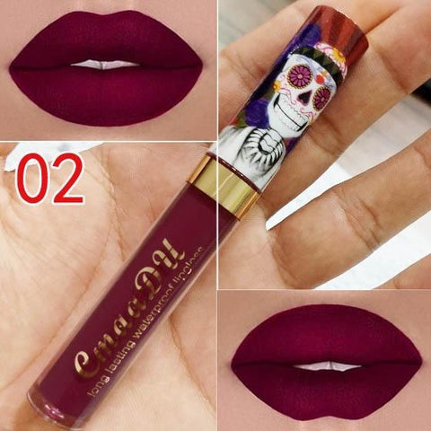 Super Sexy Skull Colour Lipstick Set Long Lasting Waterproof Liquid Velvet Lip gloss Liquid Lipstick Velvet Matte Lipgloss