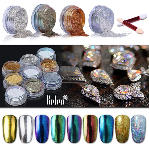 Nail Art Chrome Powder Metallic Mirror Effect Holo Rainbow Sponge Stick