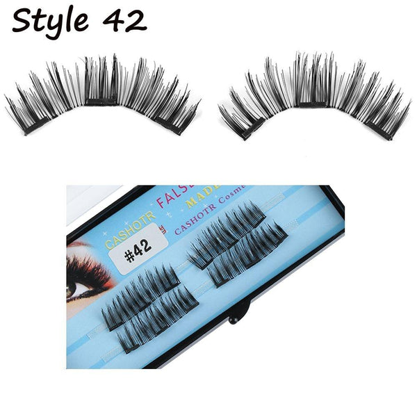 Magnetic Eyelashes Dual Magnet Glue-free 3D Reusable Full Size Premium Quality Natural Look Best False Lashes for 2018(4 Pieces)
