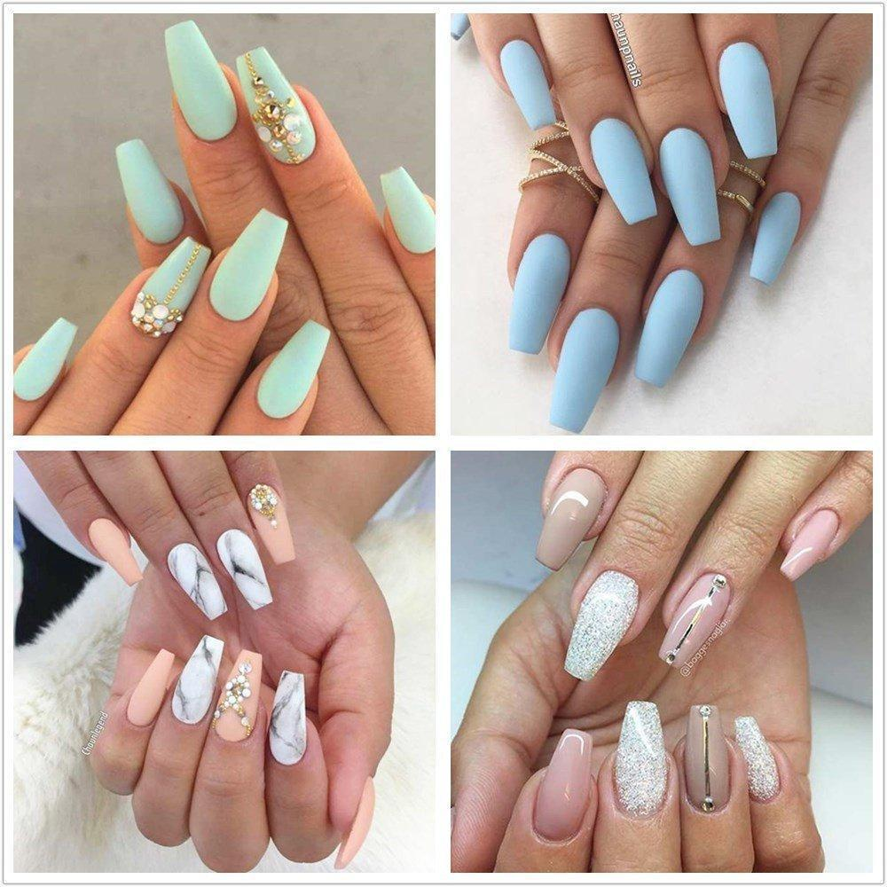 100pcs New Ballerina Nail Tips Full Nails Coffin Shape – Cutevivi