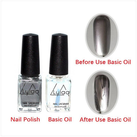 2 Pcs Nail Polish and Basic Oil Set -Fashion Sexy New Metallics Nail Polish Mirror Nail Polish