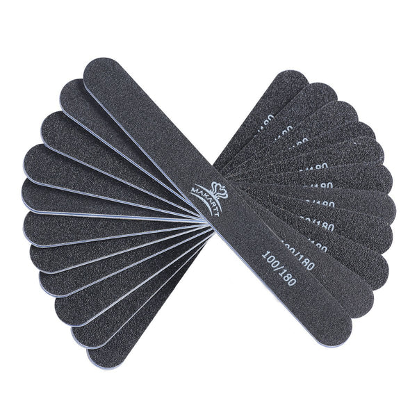 10 Files Professional Nail Files Black Washable Double Sided 100 180 Grit