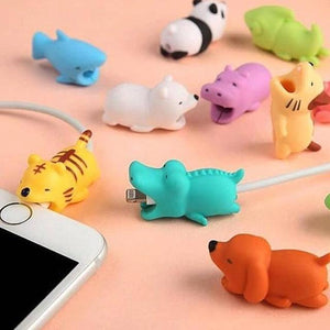 Cartoons Animal Bite Cable Data Protector Dogs Cats Cute Shaper Winder Organizer for Iphone Ipad Data Line Protection Phone Accessories