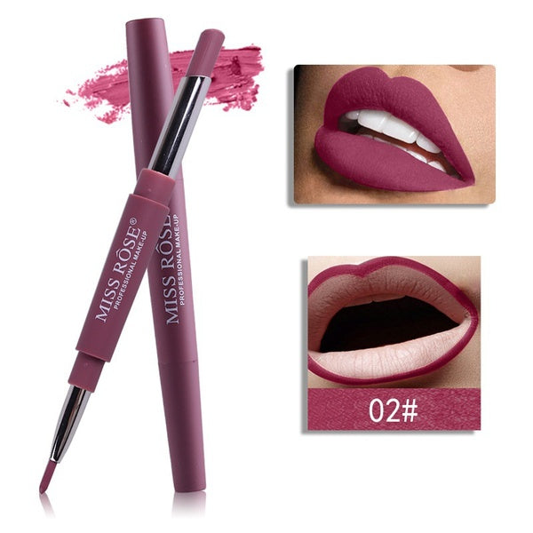 Sexy 2 In 1 Double-ended Lips Makeup Matte Lipstick Set Long Lasting Waterproof Pigment Lipstick Pen