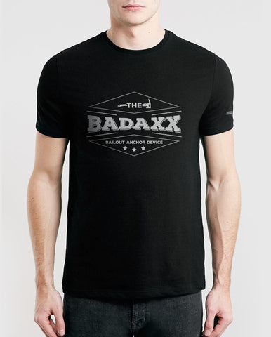 Black Men's T-Shirt with The Badaxx Bailout Anchor Device on the front: Firefighter Shirt