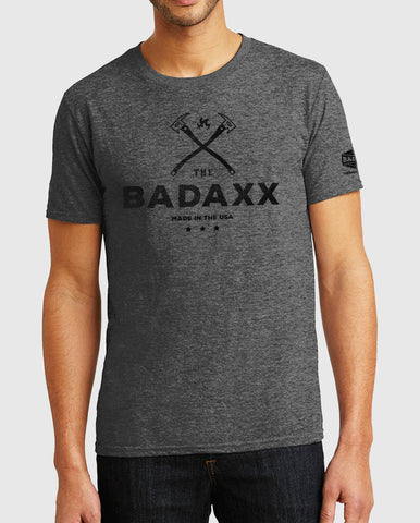 Grey Men's TShirt with The Badaxx Made in the USA on the front