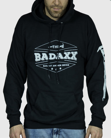 Black Men's Hooded Sweatshirt with the Badaxx Bailout Anchor Device on the front in white and an axe on the sleeve: Firefighter Sweatshirt