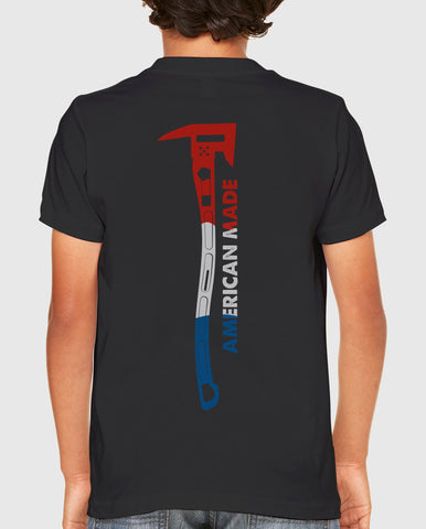 Black Juniors T-Shirt with Red White and Blue Axe and American Made on the back: Firefighter TShirt