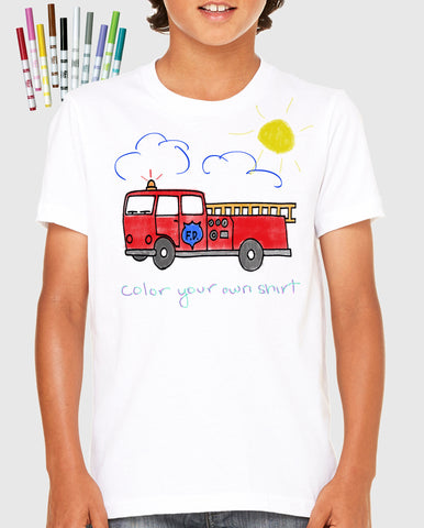 Kids T-Shirt with a Fire Truck: Color Your Own Shirt