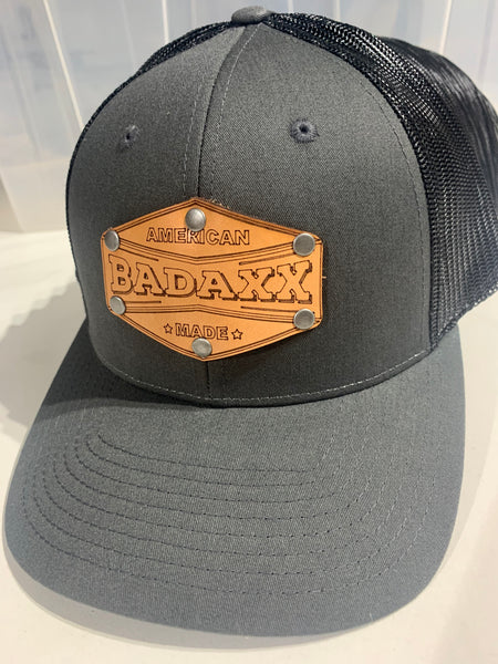 "Grey and Black Hat with Brown Leather ""Badaxx American Made"" Patch: Firefighter hat"