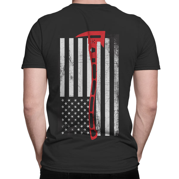 Black Men's TShirt with Thin Red Line Flag made with an Axe: Firefighter Tshirt