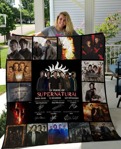 Limited Edition ! SPN Quilt Blanket 15 Years - 15 season posters