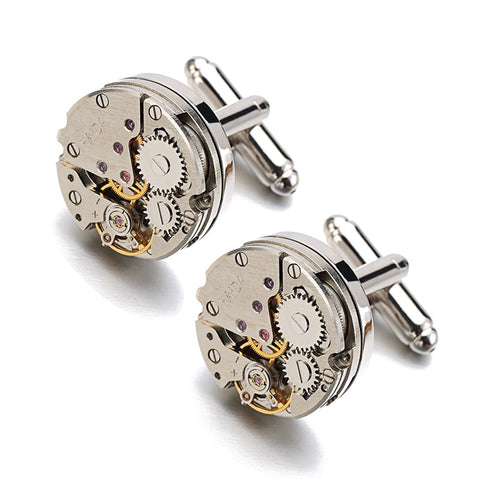 Lepton Watch Movement Design Cufflinks Stainless Steel Steampunk Gear Watch Mechanism Cuff links for Mens Relojes gemelos