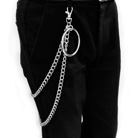 Street Big Ring Pendant Key Chain Metal Wallet Chain Silver Rock HipHop Punk Hook Biker Trousers Pant Waist Link Belt Jewelry