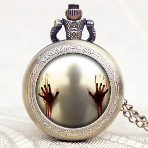 TWKD Theme Zombie Design Glass Dome Bronze Quartz Pendant Pocket Watch