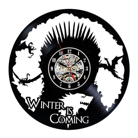 Vinyl Record Clock Game of Throne Theme Wall DecorTheme